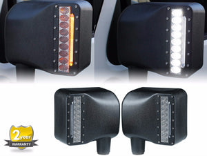 LED Side Mirrors with White Spot Lights and Amber Turn Signal Lights for 2007-2017 - Altitude Jeep