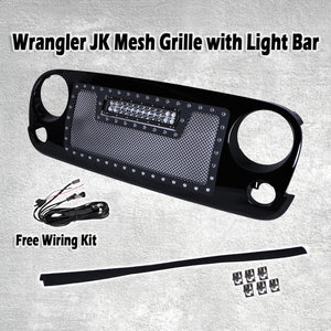 Big Mouth Mesh Grill for '07-'17 Jeep Wrangler w/ 72W CREE LED Light Bar - Altitude Jeep