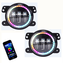 F2 Color Chasing Halo RGB CREE LED Fog Lights for JK JKU TJ Jeep Wrangler