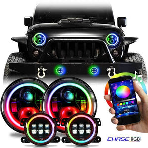 Chasing X2 - RGB Angel Eye Halo CREE LED Headlight/Fog light Combo with DRL for '97-'19 Jeep Wrangler JK, JKU, TJ