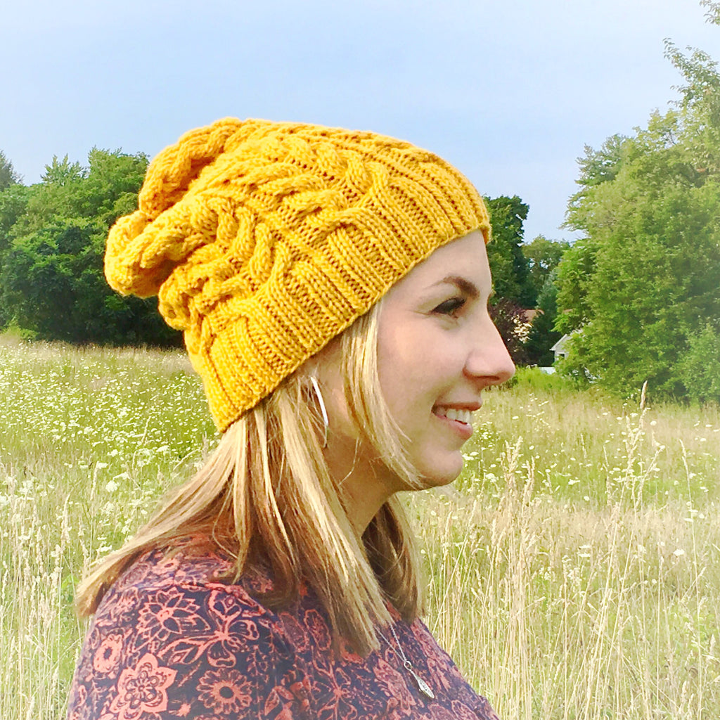 Womens Slouchy Hat - Golden Yellow