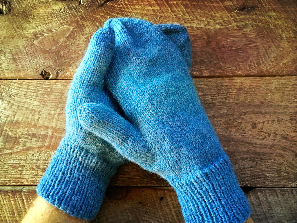 Classic wool mittens - hand knit in denim blue wool for adult women or men