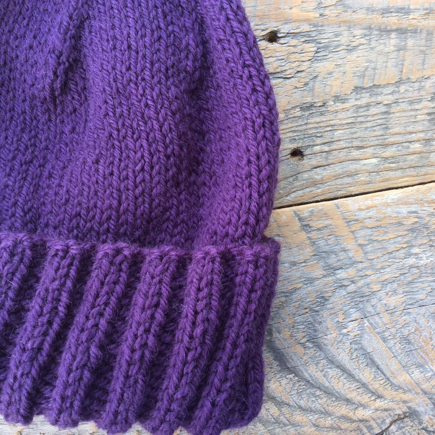 Womens winter hat - hand knit from purple wool - Lambs Ears Knits