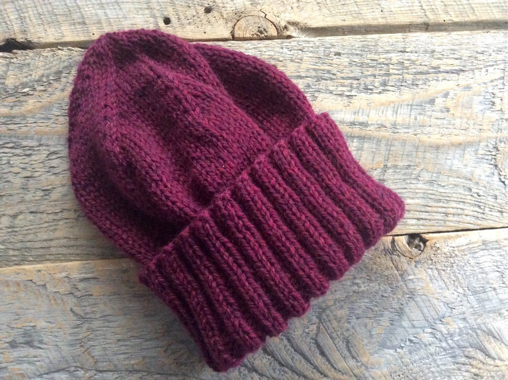 Unisex winter hat handknit with burgundy wool - Lambs Ears Knits