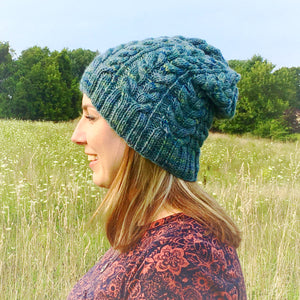 Womens slouchy beanie wool hat - blue - Lambs Ears Knits