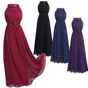Chiffon Long Bridesmaid Dresses Women Ladies Halter Bridal Maxi Prom Gown Princess Lace Dresses