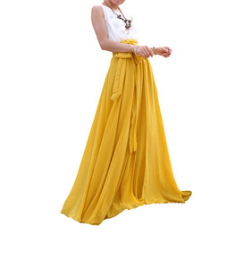 Mustard Yellow chiffon maxi skirt