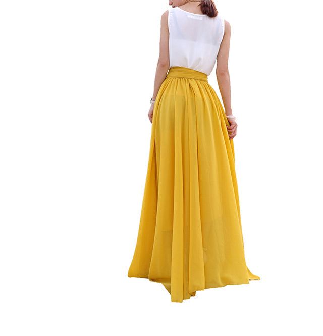 aa1f0df79 Melansay Beatiful Bow Tie Summer Beach Chiffon High Waist Maxi Skirt ...