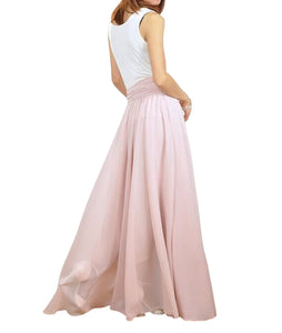 Nude pink floor length skirts
