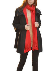 MELANSAY Women's Princess Wool Winter Coat With Detachable Knit Sleeves