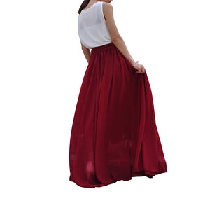 Wine red chiffon skirts