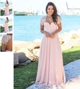 Cap Sleeves Lace Chiffon Long Bridesmaid Dresses 2019 Wedding Guest Dresses Custom Made Backless Wedding Party Dress