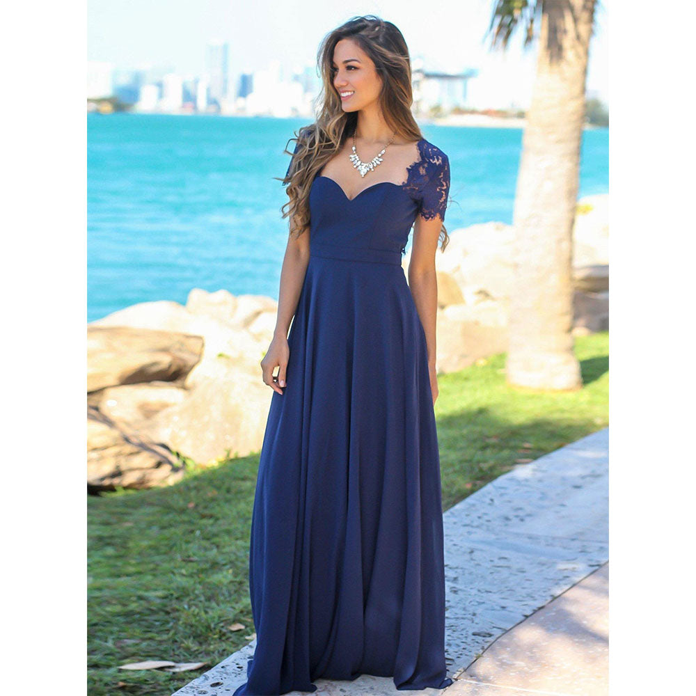 Wedding Guest Dresses With Sleeves.Cap Sleeves Lace Chiffon Long Bridesmaid Dresses 2019 Wedding Guest Dresses Custom Made Backless Wedding Party Dress