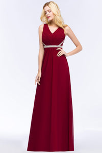 Sexy V Neck Burgundy Chiffon Bridesmaid Dresses Long Beaded Crystal Wedding Party Dresses vestido de festa