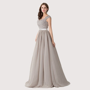 Cap Sleeve Appliques Lace Long Grey Bridesmaid Dresses Wedding Party Dresses Sexy Sheer Back