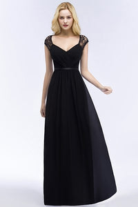Cap Sleeves Black Lace Chiffon Bridesmaid Dresses 2019 Sexy V Neck Long Party Dresses For Weddings vestido de festa