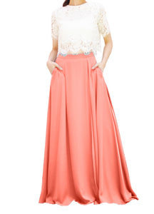 Women's Casual Sexy Chiffon Split High Waist Maxi Skirt With Pockets For Wedding Party Evening