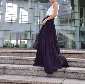High Waist Maxi Skirt Chiffon Silk Skirts Beautiful Bow Tie Elastic Waist Summer Skirt Floor Length Long Skirt (037), #69