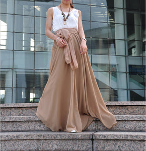 High Waist Maxi Skirt Chiffon Silk Skirts Beautiful Bow Tie Elastic Waist Summer Skirt Floor Length Long Skirt (037), #105