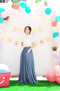 Dusty Blue High Waist Floor Length Long Skirt Flowy Chiffon Maxi Skirt With Pockets For Party, Event, Wedding, Bridesmaids ,Gift (108)