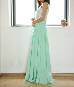 High Waist Maxi Skirt Chiffon Silk Skirts Beautiful Bow Tie Elastic Waist Summer Skirt Floor Length Long Skirt (037) Mint