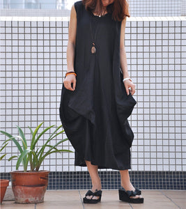 Black casual dress loose fitting long maxi linen dress (80370)