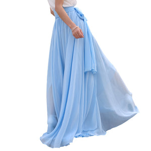 Melansay Beatiful Bow Tie Summer Beach Chiffon High Waist Maxi Skirt