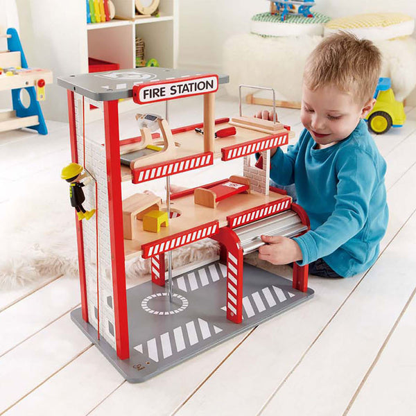 Hape Wooden Toy Fire Station