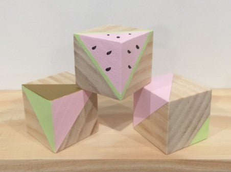 Children's Wooden Blocks - Watermelon Trio