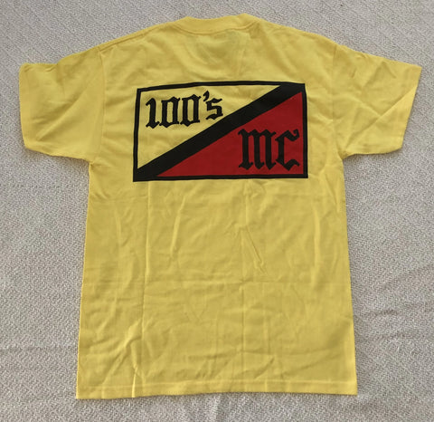 Womens 100's MC Yellow Crew Neck T-Shirt w/ Flag Print