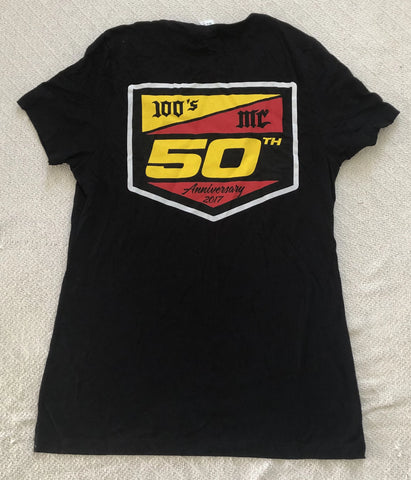Womens 50th Anniversary 100's MC Black V-Neck T-Shirt
