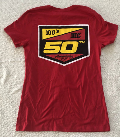 Womens 50th Anniversary 100's MC Red V-Neck T-Shirt