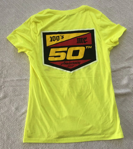 Womens 50th Anniversary 100's MC Yellow V-Neck T-Shirt
