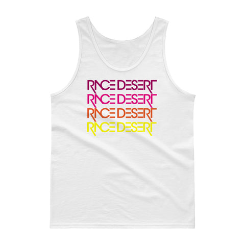 Mens Race Desert Sunset Tank - White