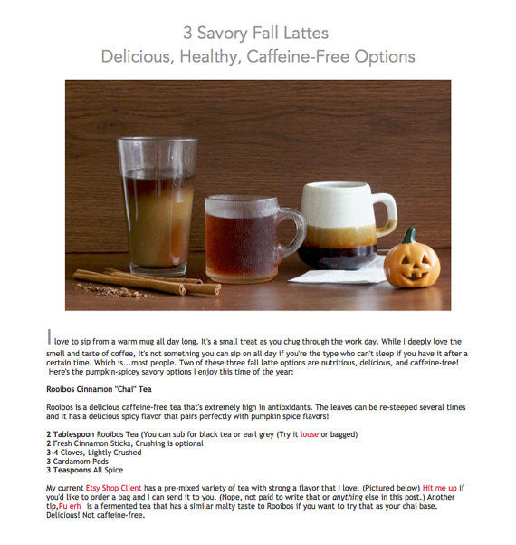 E-Book: 3 Savory Fall Latte Recipes: Delicious, Healthy & Caffiene-Free Options