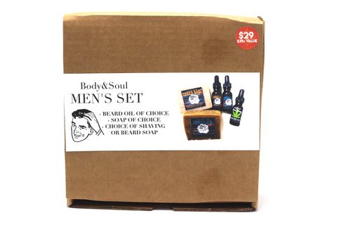Men's Care Collection: Beard Oil, Black Soap, and Beard or Shaving Soap, Great Gift Set