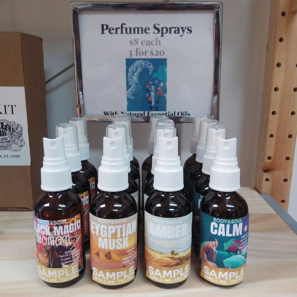 Perfume Spray Collection: Eygptian Musk, Black Magic Woman, Amber & Calm Body Spray