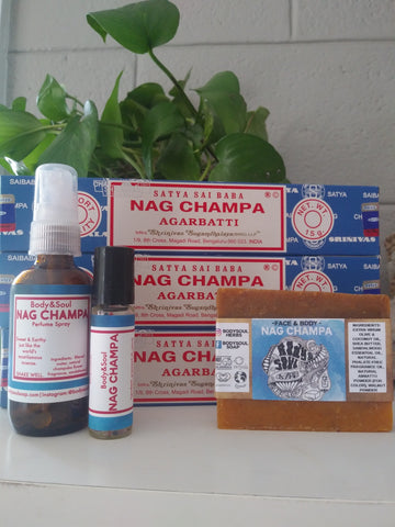 Nag Champa Set: Nag Champa Spray, Roll On, Soap & Incense