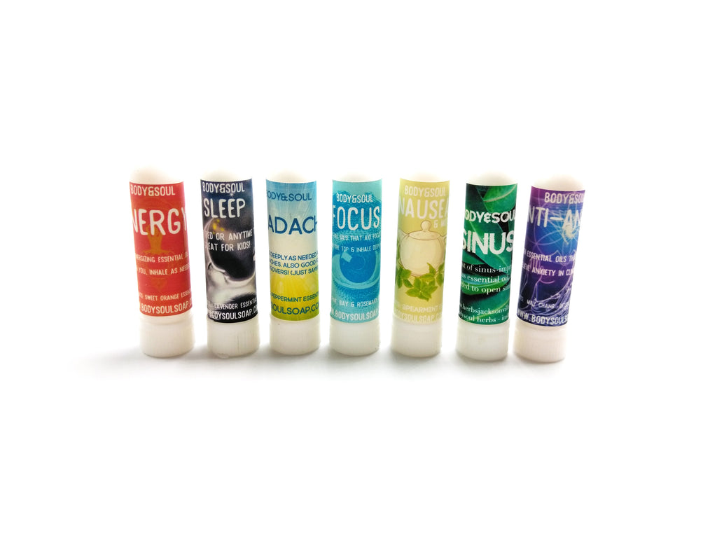 Complete Set of Aromatherapy Inhalers: Energy, Headache, Sleep, Focus, Sinus, & Anxiety