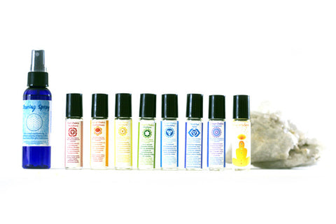 Chakra and Smudge / Clearning Spray Set: Essential Oil Roll-Ons and Sage Sprays