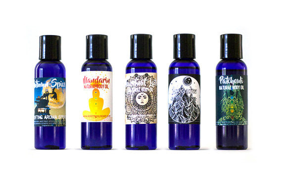 Body Oil Collection: Organic Therapeutic Grade, Mandarin, Hazelnut Latte, Lavender, Patchouli, Holiday Spice