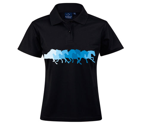 Black Polo with Blue Horses