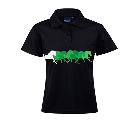 Black Polo with Green Horses