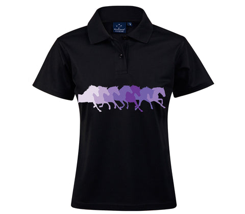 Black Polo with Purple Horses