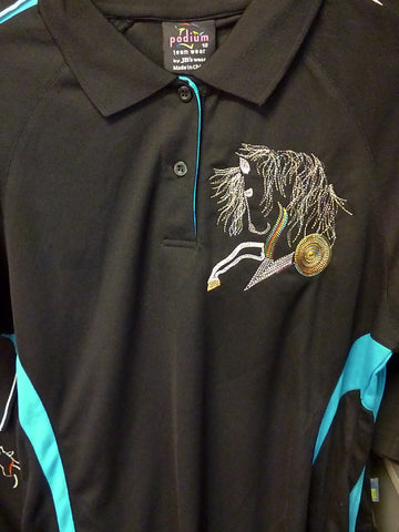 Black/aqua ladies size 10 polo