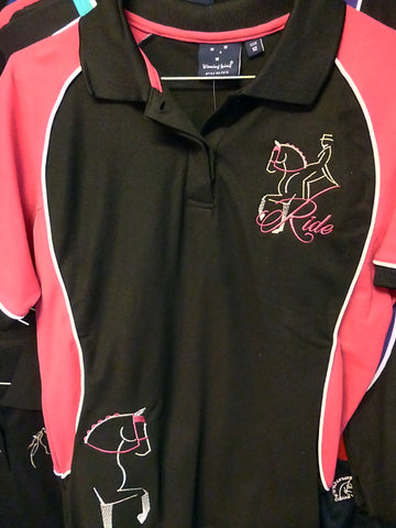 Black/Pink size 12 ladies or Kids size 14 polo