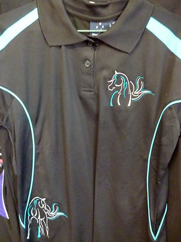 Black/Aqua Ladies size 12 Polo shirt