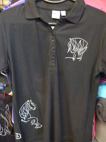 Black size 12 Ladies polo shirt Heavy Horse
