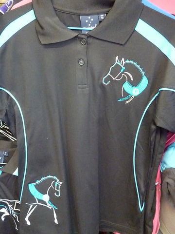 Black/Aqua Ladies Polo Ladies 12/ Kids 14- small sizes