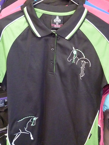 Black/Green ladies Polo Ladies 10